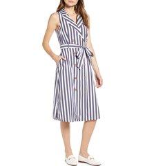 women's court & rowe tie waist sleeveless cotton blend shirtdress