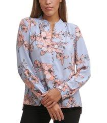 calvin klein petite floral-print v-neck button-front top