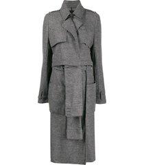 rta paneled single breasted coat - grey