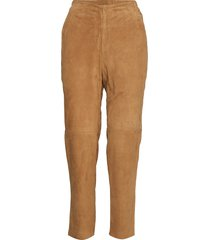 olivia suede pants pantalon met rechte pijpen beige lexington clothing