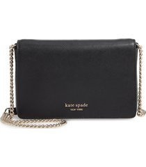 kate spade new york spencer leather wallet on a chain in black at nordstrom