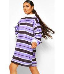 gestreepte sweatshirt jurk met hoge kraag, lilac