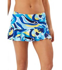 women's tommy bahama swirl tide high waist skirt swim bottoms, size medium - blue