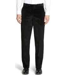 men's berle flat front classic fit corduroy trousers, size 40 x 32 - black