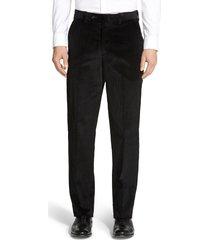 men's berle flat front classic fit corduroy trousers, size 32 x unhemmed - black