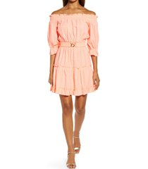 lilly pulitzer(r) lilly pulitzer metallic clip dot off the shoulder cotton dress, size medium in papaya punch metallic stripe at nordstrom