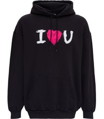 balenciaga black jersey hoodie with i love you print