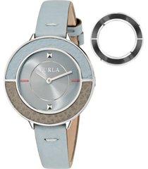 furla women's club blue dial calfskin leather watch
