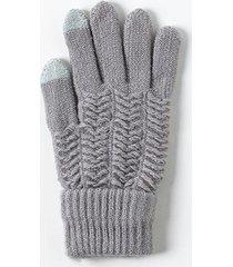 brianna ribbed tech gloves - gray