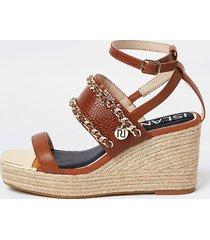 river island womens brown ri chain detail wedge heels
