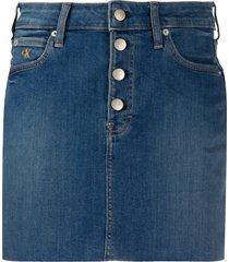 calvin klein jeans frayed hem denim skirt - blue