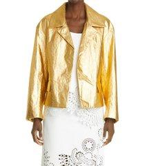women's dries van noten vondi metallic coated linen jacket, size medium - metallic