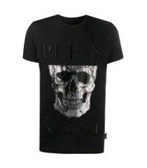 philipp plein camiseta com caveira metálica - preto