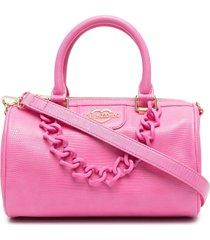 love moschino mini chain-embellished barrel tote - pink