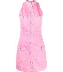balmain sleeveless denim dress - pink