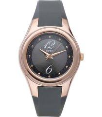 manhattan - orologio cinturino nero in policarbonato, ghiera oro per donna