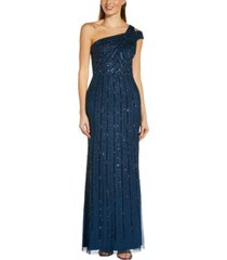 adrianna papell petite one-shoulder sequin gown