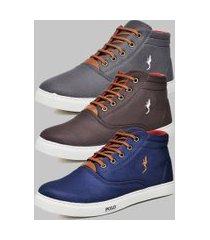 kit 3 pares sapatênis casual botinha masculino polo blu azul/café/cinza