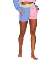 women's beach riot colorblock sweat shorts, size x-large - green