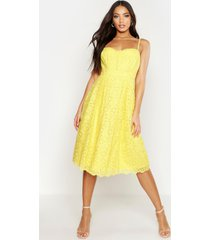 boutique embroidered strappy midi skater dress, yellow
