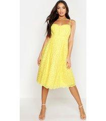 boutique geborduurde midi skater jurk met bandjes, geel