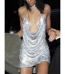 backless design deep v neck sequins dress