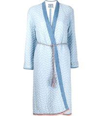 forte forte padded tie waist coat - blue