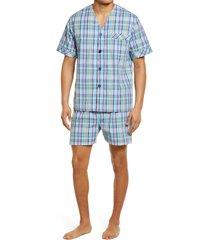 men's majestic international rosy outlook pajamas, size large - blue/green