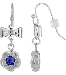 2028 silver-tone blue flower bow drop earrings