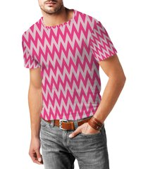 neon pink chevron mens cotton blend t-shirt