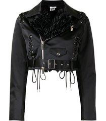 comme des garçons noir kei ninomiya ruffled-collar biker jacket -