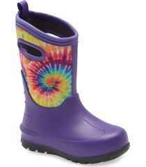 toddler girl's bogs neo classic tie dye insulated waterproof boot, size 12 m - purple