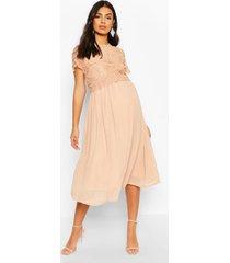 maternity double layer crochet occasion dress, apricot