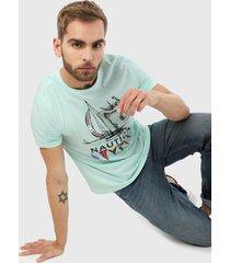 camiseta verde aguamarina nautica