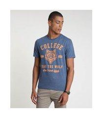 """camiseta masculina college"""" manga curta gola careca azul"""""""