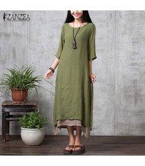 zanzea mujeres de manga larga asimétrica de doble capa vestir la camisa del partido del vestido étnico plus -ejercito verde