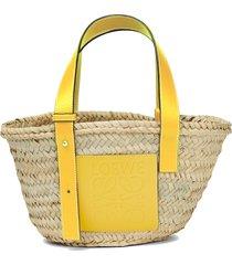 loewe small logo straw tote - yellow