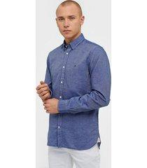 tommy hilfiger cotton linen twill shirt skjortor ink