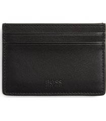 boss majestic leather card case in black/black at nordstrom