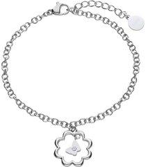 bracciale in acciaio silver con fiore e strass per donna