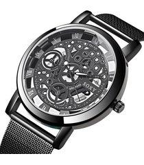 reloj mujer cuarzo pulso malla transparente 411 negro