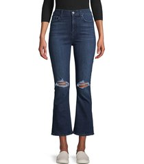 7 for all mankind women's high-rise destroyed kick flare jeans - blue - size 26 (2-4)