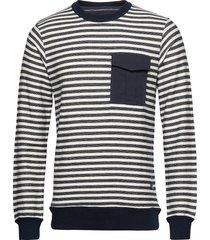 jprdenim stripe blu. sweat crew neck sweat-shirt tröja vit jack & j s