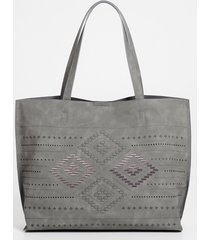 maurices womens gray geo woven tote bag
