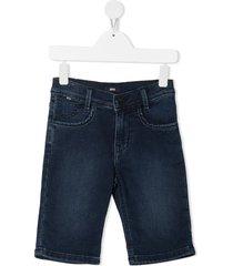 boss kidswear denim bermuda shorts - blue