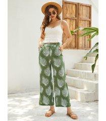 yoins pantalones verdes tropicales con bolsillos laterales