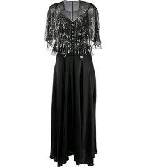 paco rabanne detachable-cape embellished satin dress - black