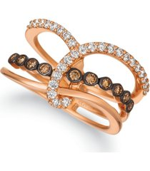 le vian chocolatier chocolate diamond (1/5 ct. t.w.) & vanilla diamond (1/3 ct. t.w.) statement ring in 14k rose gold