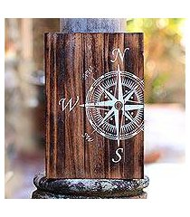 wood wall sign, 'compass' (indonesia)
