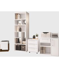 conjunto para escritório 02 livreiro/balcão multiuso/gaveteiro/cachepô branco modern office e estilare móveis